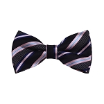 BD-14 | Black, Navy And Pink Striped Woven Pre-Tied Bow Tie