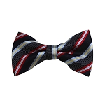 BD-15 | Red, Grey And Navy Striped Woven Pre-Tied Bow Tie