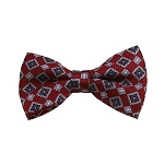 BD-24 | Grey, Silver And Red Geometric Woven Pre-Tied Bow Tie