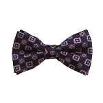 BD-25 | Lavender, Light Blue And Eggplant Geometric Woven Pre-Tied Bow Tie
