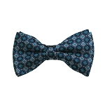 BD-26 | Grey, Black And Teal Green Geometric Woven Pre-Tied Bow Tie