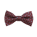 BD-27 | Grey and Red Geometric Woven Pre-Tied Bow Tie