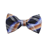 BD-31 | Silver, Grey And Gold Plaid Woven Pre-Tied Bow Tie