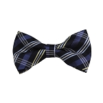 BD-33 | Silver, Blue-Gray And Black Plaid Woven Pre-Tied Bow Tie