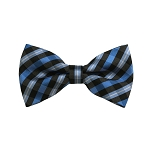 BD-35 | Light Blue, Grey And Black Checkered Woven Pre-Tied Bow Tie