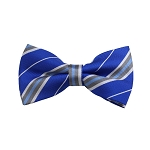 BD-36 | Silver, White And Royal Blue Striped Woven Pre-Tied Bow Tie