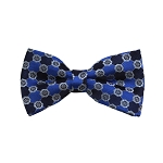 BD-38 | Blue, Silver And Navy Floral Woven Pre-Tied Bow Tie