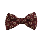 BD-39 | Gold, Grey And Maroon Floral Woven Pre-Tied Bow Tie