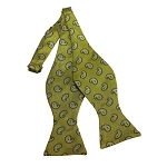 BDST-02 | White And Mustard Yellow Paisley Woven Self Tie Bow Tie