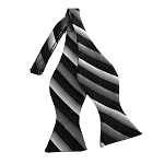 BDST-09 | Charcoal to White Fade And Black Striped Woven Self Tie Bow Tie