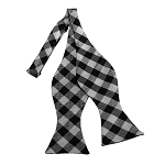 BDST-10 | Black, White And Silver Checkered Woven Self Tie Bow Tie