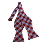 BDST-11 | Red, Grey And Silver Checkered Woven Self Tie Bow Tie