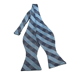 BDST-12 | Sky Blue, Grey And Blue-Grey Checkered Woven Self Tie Bow Tie