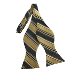 BDST-13 | Honey Gold, Black And Light Brown Striped Woven Self Tie Bow Tie