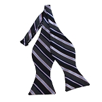 BDST-14 | Black, Navy And Pink Striped Woven Self Tie Bow Tie