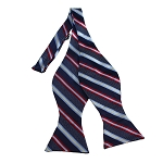 BDST-15 | Red, Grey And Navy Striped Woven Self Tie Bow Tie