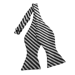 BDST-16 | Black And White Striped Woven Self Tie Bow Tie