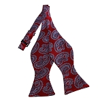 BDST-23 | Grey And Red Paisley Woven Self Tie Bow Tie