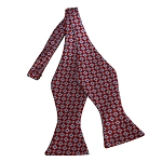 BDST-27 | Grey and Red Geometric Woven Self Tie Bow Tie