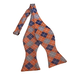 BDST-28 | Silver, Blue-Grey And Peach Checkered Woven Self Tie Bow Tie