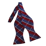 BDST-30 | Silver, Blue-Grey And Red Plaid Woven Self Tie Bow Tie