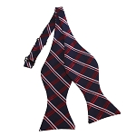 BDST-32 | Red, White And Navy Plaid Woven Self Tie Bow Tie