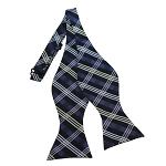 BDST-33 | Silver, Blue-Gray And Black Plaid Woven Self Tie Bow Tie