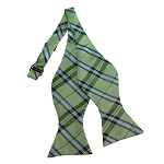 BDST-34 | Light Green, Silver And Sage Plaid Woven Self Tie Bow Tie