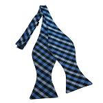 BDST-35 | Light Blue, Grey And Black Checkered Woven Self Tie Bow Tie