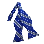 BDST-36 | Silver, White And Royal Blue Striped Woven Self Tie Bow Tie