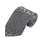 D-05 | Silver and Grey Paisley Woven Necktie
