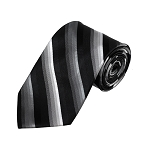 D-09 | Charcoal to White Fade And Black Striped Woven Necktie