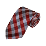 D-11 | Red, Grey And Silver Checkered Woven Necktie