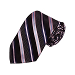 D-14 | Black, Navy And Pink Striped Woven Necktie
