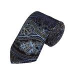 D-22 | Steel Blue, Gold And Navy Paisley Woven Necktie