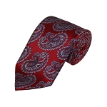 D-23 | Grey And Red Paisley Woven Necktie
