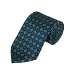 D-26 | Grey, Black And Teal Green Geometric Woven Necktie