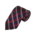 D-32 | Red, White And Navy Plaid Woven Necktie
