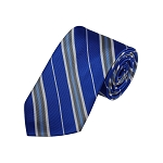 D-36 | Silver, White And Royal Blue Striped Woven Necktie