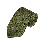 D-40 | Green And Olive Floral Woven Necktie
