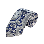 D-41 | Silver, White And Blue Paisley Woven Necktie