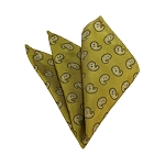 HD-02 | White And Mustard Yellow Paisley Woven Handkerchief