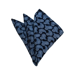 HD-04 | Light Blue, White And Navy Paisley Woven Handkerchief
