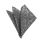 HD-05 | Silver and Grey Paisley Woven Handkerchief