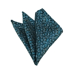 HD-06 | Turquoise, Oasis And Peacock Blue Paisley Woven Handkerchief