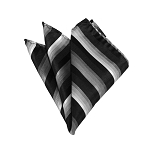 HD-09 | Charcoal to White Fade And Black Striped Woven Handkerchief