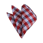 HD-11 | Red, Grey And Silver Checkered Woven Handkerchief