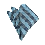 HD-12 | Sky Blue, Grey And Blue-Grey Checkered Woven Handkerchief