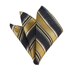 HD-13 | Honey Gold, Black And Light Brown Striped Woven Handkerchief