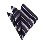 HD-14 | Black, Navy And Pink Striped Woven Handkerchief